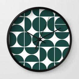 Mid Century Modern Geometric 04 Dark Green Wall Clock