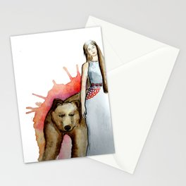Girl and bear Stationery Cards