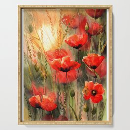 Real Red Poppies Serving Tray