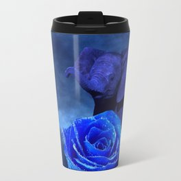 Blue Elephant and Rose Travel Mug