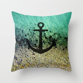 Anchored to the shore Throw Pillow