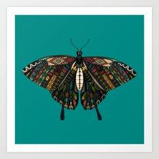 swallowtail butterfly teal Art Print