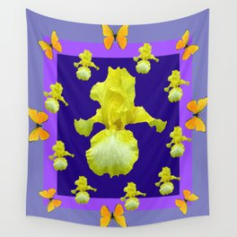 Golden Butterflies Yellow Iris Purple Pattern Art Wall Tapestry