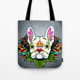 French Bulldog in White - Day of the Dead Sugar Skull Dog Tote Bag