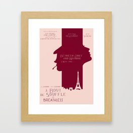 Breathless (À bout de souffle) minimal movie poster, Jean-Luc Godard, classic french film, new wave Framed Art Print