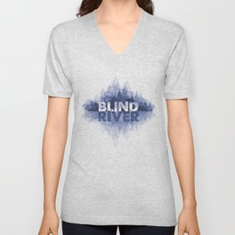 Blind River Trees (blue) Unisex V-Neck
