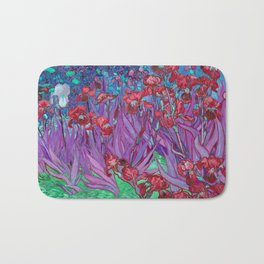 Vincent Van Gogh Irises Painting Cranberry Purple Palette Bath Mat