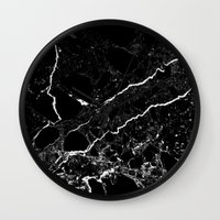 geology Wall Clocks featuring Black Marble by Santo Sagese