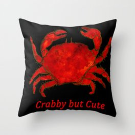 Crabby but Cute - Red Crab Throw Pillow
