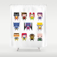 x men Shower Curtains featuring Pixel X-Men by PixelPower