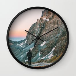 sunset on the monviso Wall Clock