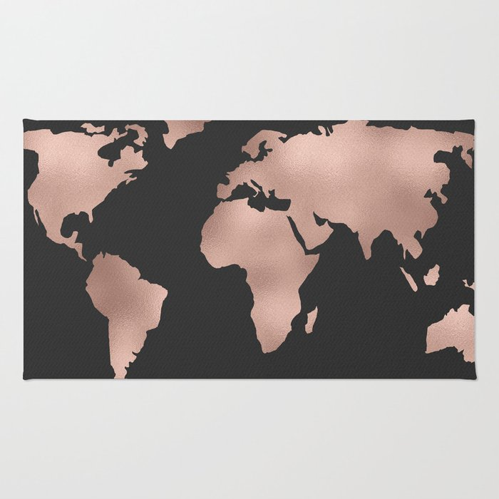 Rose gold world map on dark gray rug by mapmaker society6 rose gold world map on dark gray rug gumiabroncs Gallery