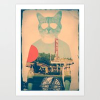 brown Art Prints featuring Cool Cat by Ali GULEC