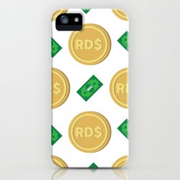 Dominican Republic's Dominican peso RD$ code DOP banknote and coin pattern wallpaper iPhone Case