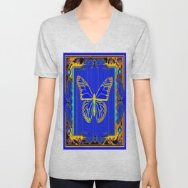 Lapis Blue & Gold Monarch Western Art design Unisex V-Neck