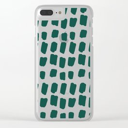 Green Abstract Paint Splotches Clear iPhone Case