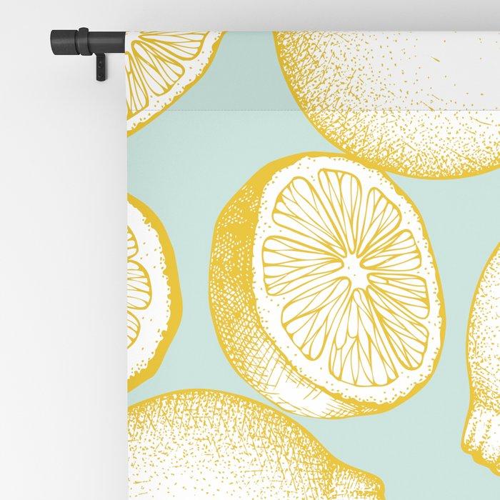 Lemons On Turquoise Background Blackout Curtain