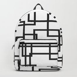 Black and White Cubical Line Art Backpack