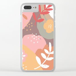 Flowers and leaves. Abstraction. Chocolate background. Clear iPhone Case