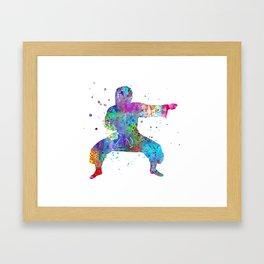 Karate fighter girl Framed Art Print