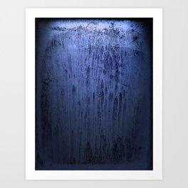 Old blue window at night Art Print