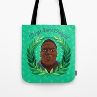 notorious big Tote Bags featuring NOTORIOUS by badOdds