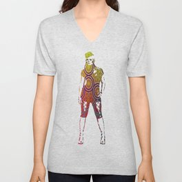 Pink, Purple, Yellow, and Orange Circles and Cogs Unisex V-Neck
