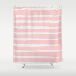 Irregular Hand Painted Stripes Pink Shower Curtain