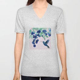 blueberry and humming bird Unisex V-Neck