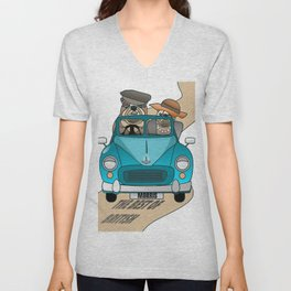 The  Best of British - English Bulldogs in a Morris Minor Unisex V-Neck