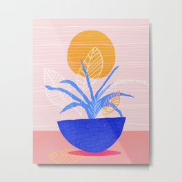 Summer Patio Flora in Pink and Blue Metal Print