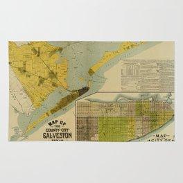 Vintage Map of Galveston Texas (1891) Rug