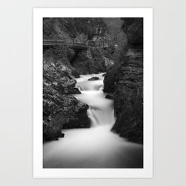 The Soteska Vintgar gorge in Black and White Art Print