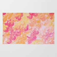 PINK PLUMES - Soft Pastel Wispy Pretty Peach Melon Clouds Strawberry Pink Abstract Acrylic Painting  Rug