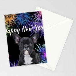 Happy New Year French Bulldog - Fireworks Stationery Cards
