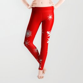 Red Christmas Snowflake  Banner Leggings