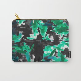 psychedelic vintage camouflage painting texture abstract in green and black Carry-All Pouch