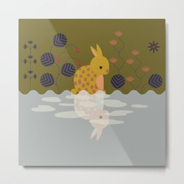 Rabbit in the Forest meets the Water Metal Print