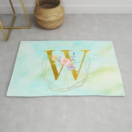 Gold Foil Alphabet Letter W Initials Monogram Frame with a Gold Geometric Wreath Rug