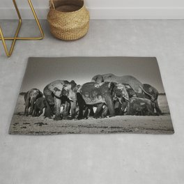 Elephant Herd Circling Rug