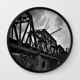 Train Bridge (Black & White) Wall Clock