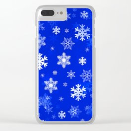 Light Blue Snowflakes Clear iPhone Case