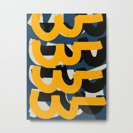 Yellow and blue Zen Abstract Pattern Design Metal Print