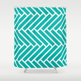 Turquoise and white herringbone pattern Shower Curtain