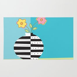round whimsy vases with flowers Rug