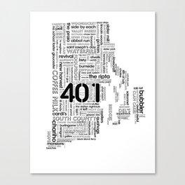 Rhode Island Word Map Canvas Print