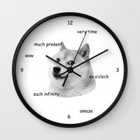 doge Wall Clocks featuring Fashion Doge by AMAG