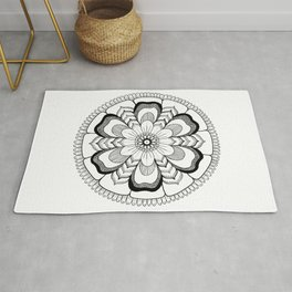 Mandala Floral Ink Art Rug