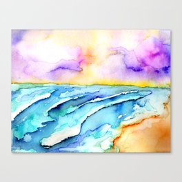 violet clouds - beach at sunset Canvas Print