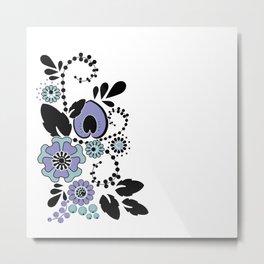 Blue ethnic floral pattern Metal Print